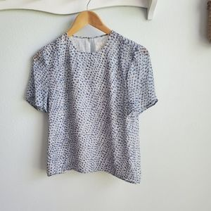 Band of Outsiders blue floral silk top 00 XXS